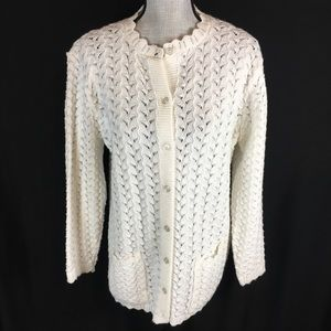 Vintage 90s Carly Blake Cardigan Sweater Crocheted